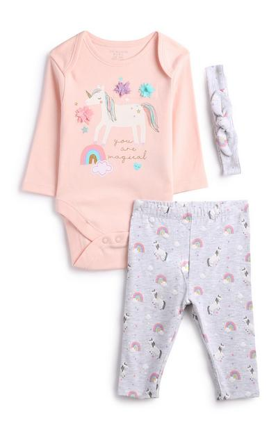 Newborn Girl Unicorn Outfit 3Pc