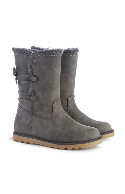 Younger Girl Grey Faux Suede Boots