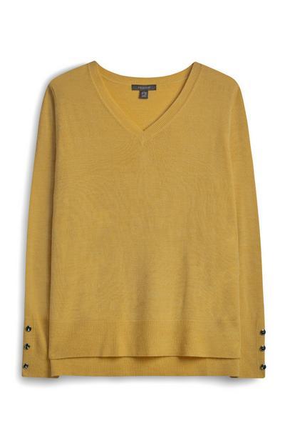 Senfgelber Pullover mit V-Ausschnitt