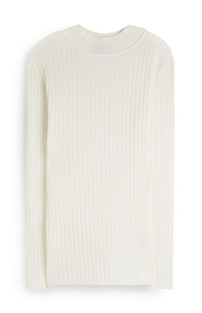 Cream Ribbed Turtle Neck Jumper