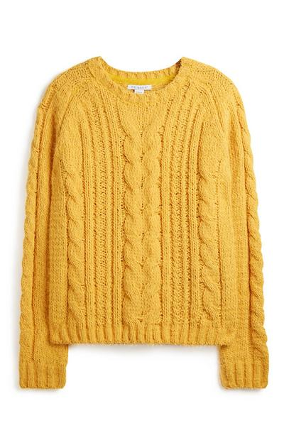Mustard Yellow Cable Knit Jumper