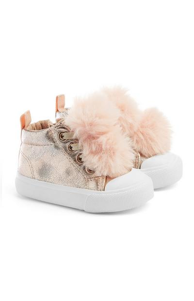 Baby Girl Gold Pom Pom Shoes