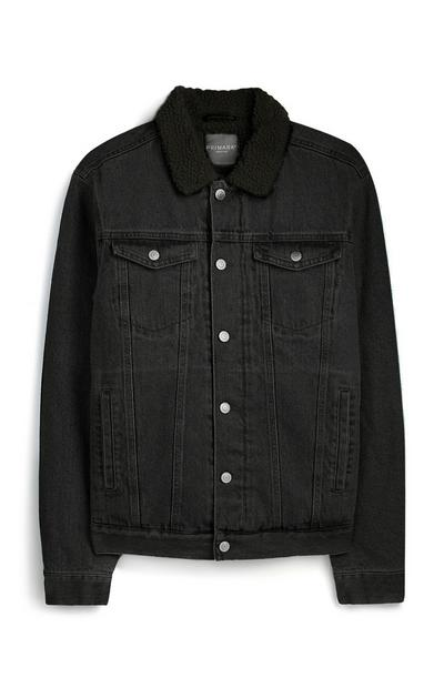 Black Denim Borg Jacket