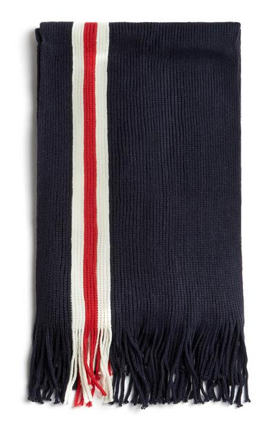 Navy Tassle Scarf With White And Red Stripe