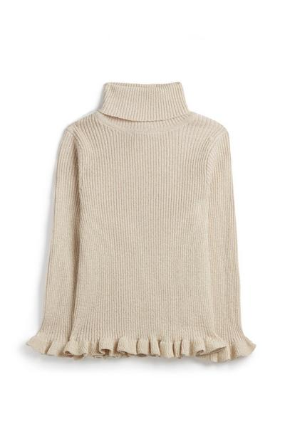 Younger Girl Oatmeal Sparkly Roll Neck Top