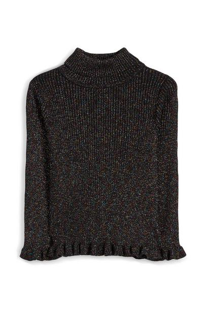 Younger Girl Black Sparkly Roll Neck Top