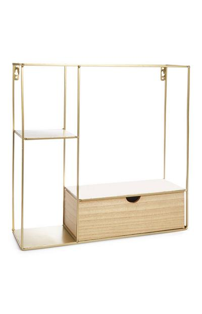 Large Gold Shelf With Drawers