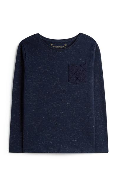 Younger Girl Navy Top With Crochet Pocket
