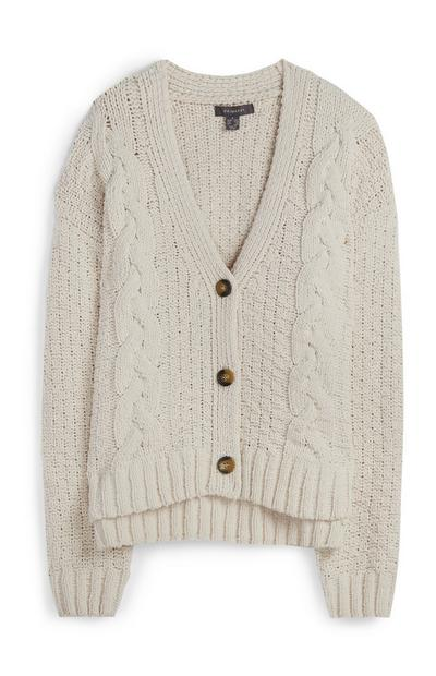 Cream Chunky Knit Cardigan