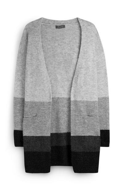 Grey Colourblock Cardigan