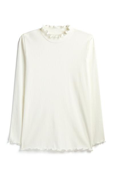 Older Girl Ivory Frill Neck Top