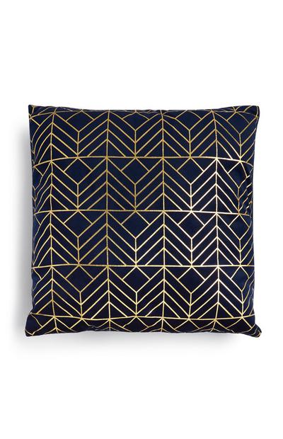 Blue And Gold Patterned Cushion