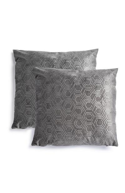 Grey Textured Velvet Cushions 2Pk