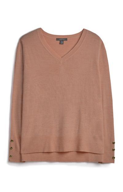 Mocha V Neck Sweatshirt