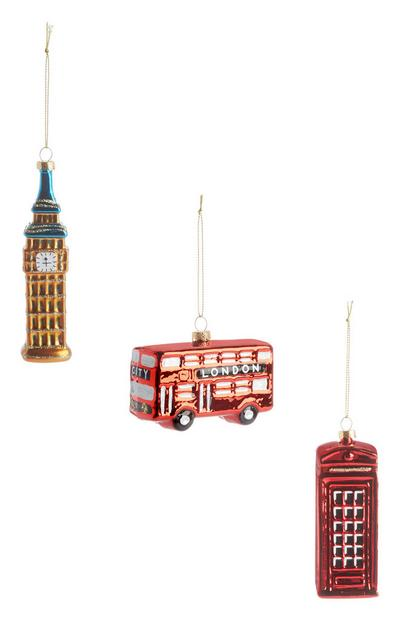 London Christmas Decoration 3Pk