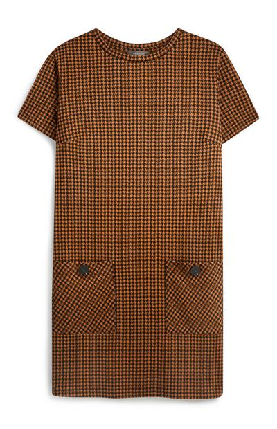 Brown Check Pocket Tunic Dress