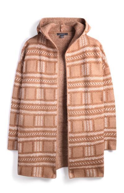 Orange Hooded Check Coat