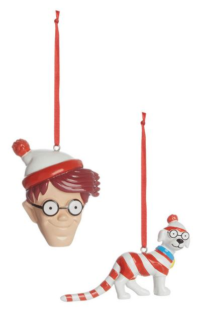 """Where's Wally"" Weihnachtsdeko, 2er-Pack"