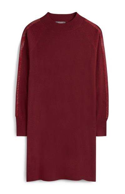 Red Embellished Sleeve Jumper Dress