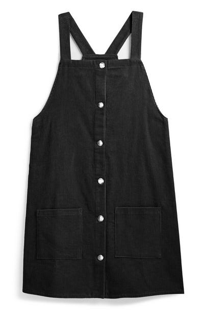 Older Girl Black Pinafore Dress