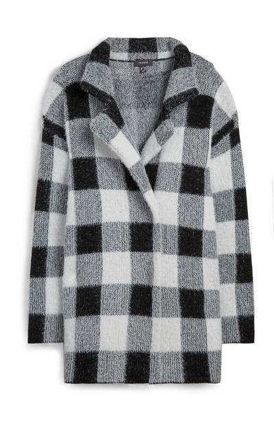 Monochrome Check Coat