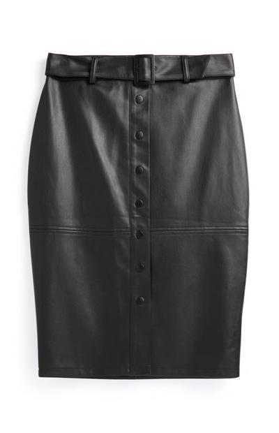 Black PU Belted Skirt