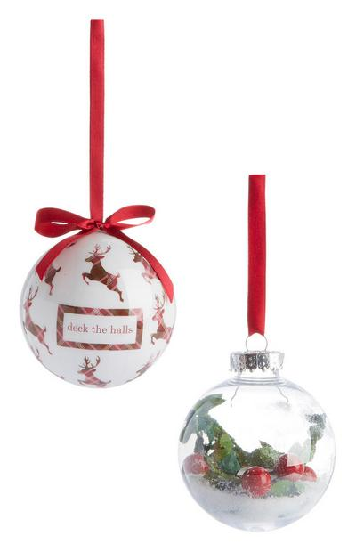 Red Christmas Bauble 2Pk