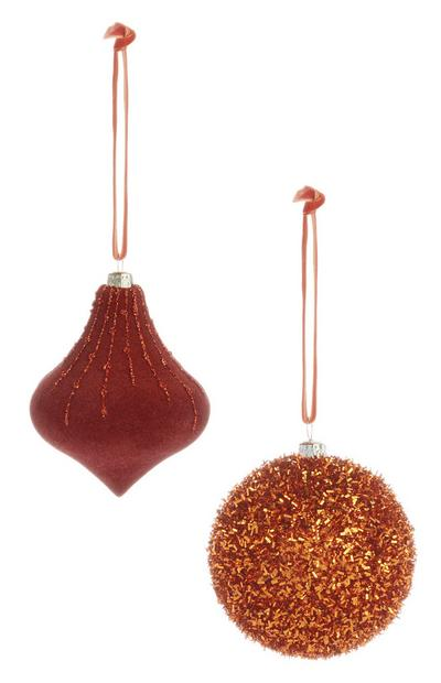Orange Glitter Bauble 2Pk