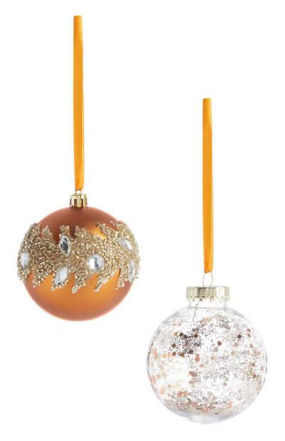 Bronze Glitter Bauble 2Pk