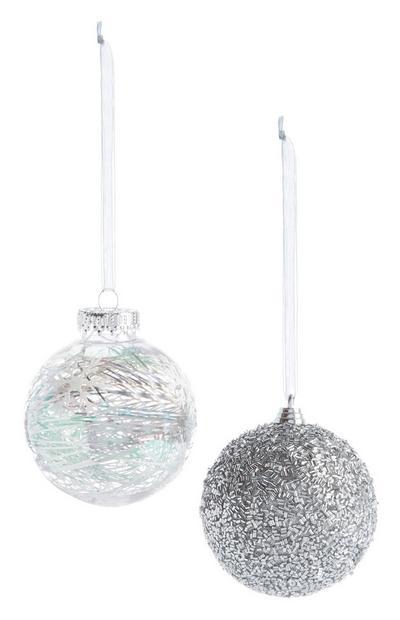 Silver Glitter Bauble 2Pk