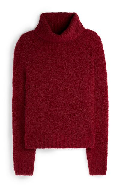 Red Boucle Roll Neck Jumper