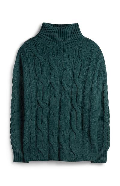 Teal Chunky Cable Knit Jumper
