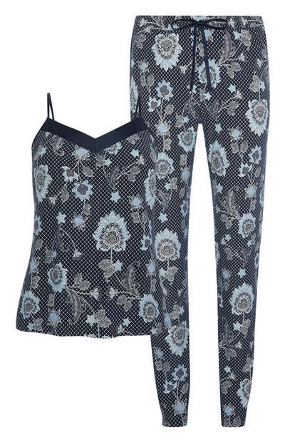 Blue Floral Pyjamas 2Pc