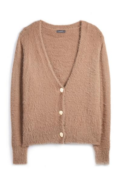 Camel Fluffy Cardigan