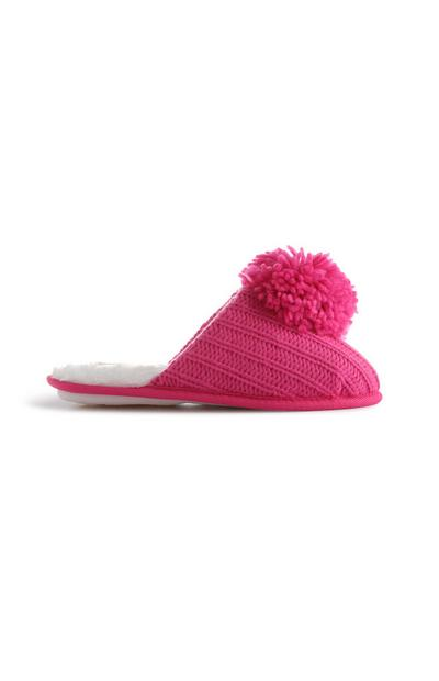 Hot Pink Knitted Slippers