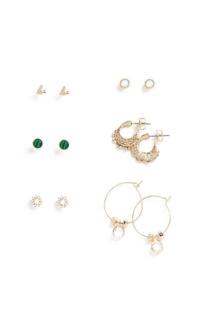 Gem Stone Earrings 6Pk