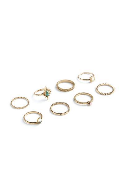 Modische Ringe, 8er-Pack