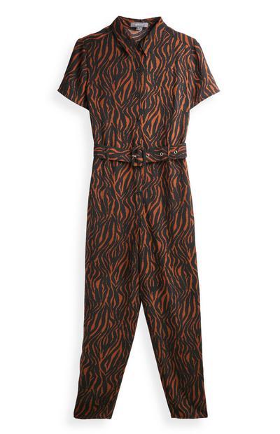 Zebra Print Belted Jumpsuit