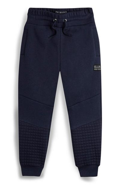 Younger Boy Navy Textured Jogger