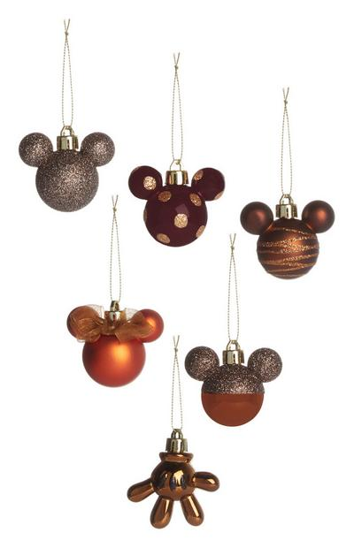 Bronze Mickey Mouse Baubles 6Pk