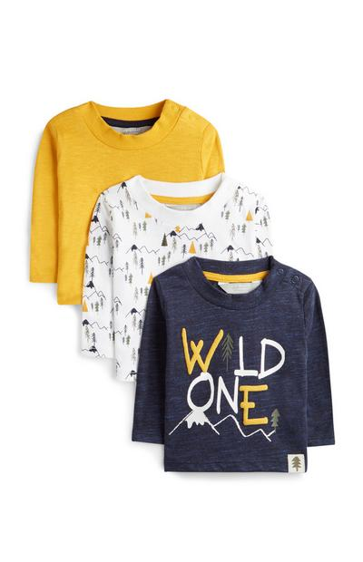 Younger Boy Yellow Wild One T-Shirts 3Pk