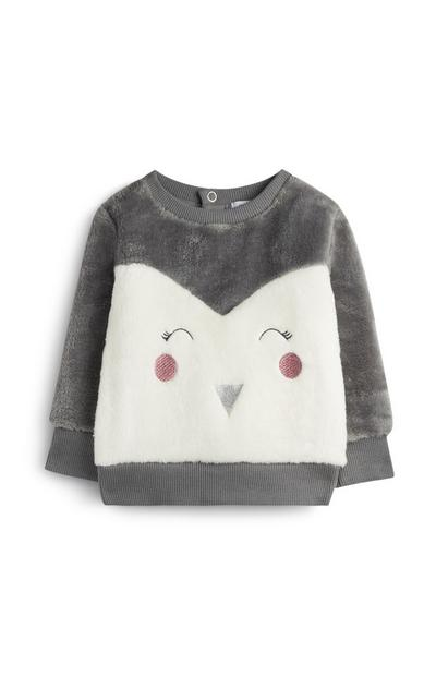 Baby Girl Fluffy Penguin Jumper