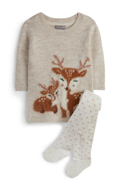 Baby Girl Deer Knit Dress