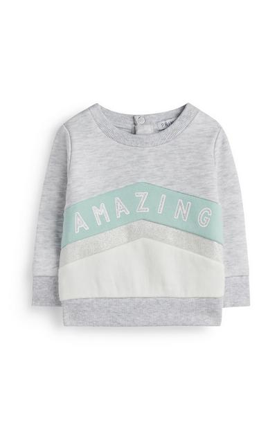 Baby Girl Grey Slogan Jumper