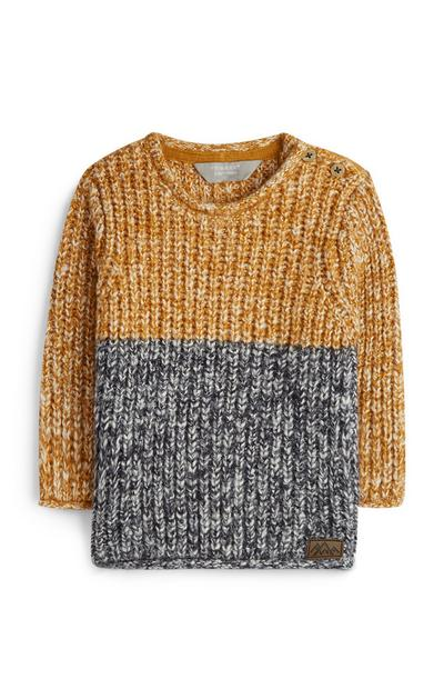 Baby Boy Mustard And Grey Chunky Knit Jumper