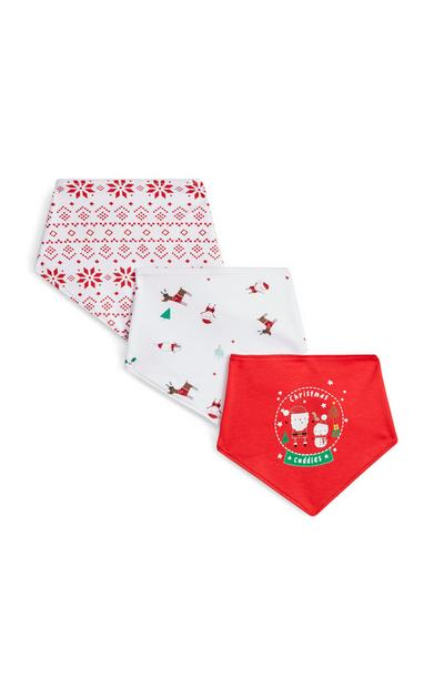 Red And White Christmas Bandanas 3Pk