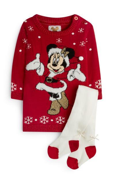 Baby Girl Red Minnie Mouse Knit Dress With Tights