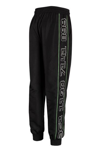 Black Nylon Neon Stripe Joggers