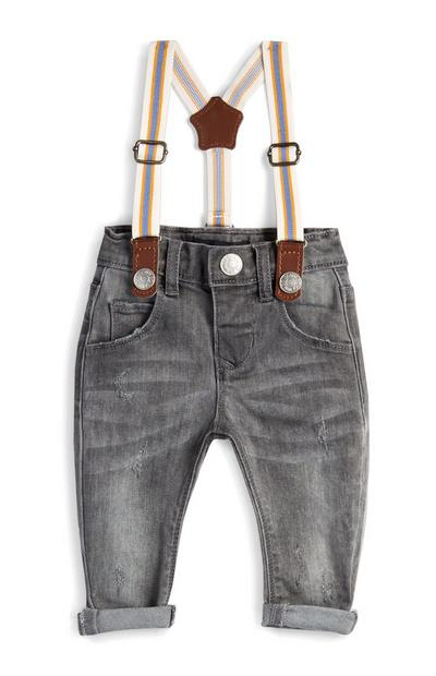 Baby Boy Grey Suspender Jeans