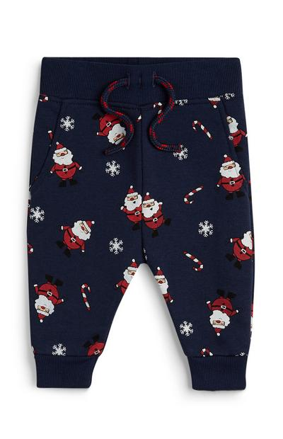 Baby Boy Navy Santa Claus Christmas Leggings